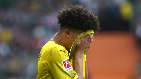 Bremen (Germany), 29/04/2018.- Dortmund's Jadon Sancho during the German Bundesliga soccer match between SV Werder Bremen and Borussia Dortmund in Bremen, Germany, 29 April 2018. (Rusia, Alemania) EFE/EPA/DAVID HECKER (EMBARGO CONDITIONS - ATTENTION: Due to the accreditation guidlines, the DFL only permits the publication and utilisation of up to 15 pictures per match on the internet and in online media during the match.)