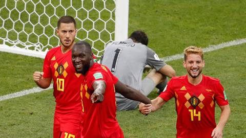 Belgium's forward Romelu Lukaku (2nd-L) celebrates his first goal, his team's second, with Belgium's forward Dries Mertens (R) and Belgium's forward Eden Hazard (L) during the Russia 2018 World Cup Group G football match between Belgium and Panama at the Fisht Stadium in Sochi on June 18, 2018. / AFP PHOTO / Odd ANDERSEN / RESTRICTED TO EDITORIAL USE - NO MOBILE PUSH ALERTS/DOWNLOADS