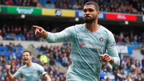 "Soccer Football - Premier League - Cardiff City v Chelsea - Cardiff City Stadium, Cardiff, Britain - March 31, 2019  Chelsea's Ruben Loftus-Cheek celebrates scoring their second goal                       Action Images via Reuters/Matthew Childs  EDITORIAL USE ONLY. No use with unauthorized audio, video, data, fixture lists, club/league logos or ""live"" services. Online in-match use limited to 75 images, no video emulation. No use in betting, games or single club/league/player publications.  Please contact your account representative for further details."