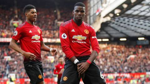 "Soccer Football - Premier League - Manchester United v West Ham United - Old Trafford, Manchester, Britain - April 13, 2019  Manchester United's Paul Pogba celebrates scoring their second goal with Marcus Rashford             Action Images via Reuters/Carl Recine  EDITORIAL USE ONLY. No use with unauthorized audio, video, data, fixture lists, club/league logos or ""live"" services. Online in-match use limited to 75 images, no video emulation. No use in betting, games or single club/league/player publications.  Please contact your account representative for further details."